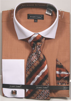 Avanti Uomo Rust Heather White Collar Dress Shirt Tie Combo DN73M