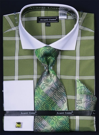 Avanti Lime Square Pattern French Cuff Shirt Tie Set DN54M - click to enlarge
