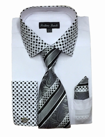 Fortino Milano Mens White French Cuff Dress Shirt Tie Set FL630 - click to enlarge