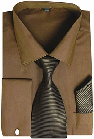 Milano Brown French Cuff Shirt Stripe Tie Combo SG27 - click to enlarge