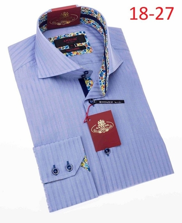 Axxess Shirt Fashion High Collar Mens Light Blue Stripe Style 18-27 - click to enlarge