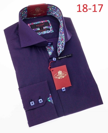 Axxess High Collar Mens Purple Button Down Shirt 18-17 - click to enlarge