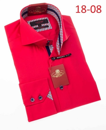 Axxess Shirt Fashion High Collar Mens Red Modern Fit Shirt 18-08 - click to enlarge