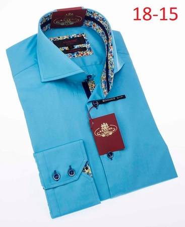 Axxess Shirt Fashion High Collar Mens Turquoise No Tuck 18-15 - click to enlarge