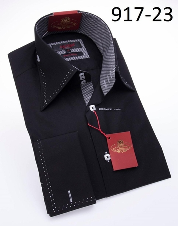 Axxess Shirt High Collar Mens Black White Stitch Modern Fit Shirt 18-06 - click to enlarge