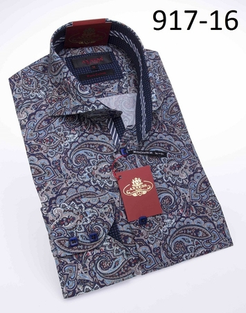 Axxess Shirts High Collar Mens Blue Paisley No Tuck Shirt 917-16 - click to enlarge