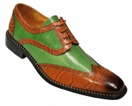 Liberty Mens Rust Green Two Tone Leather Dress Shoes 827 - click to enlarge