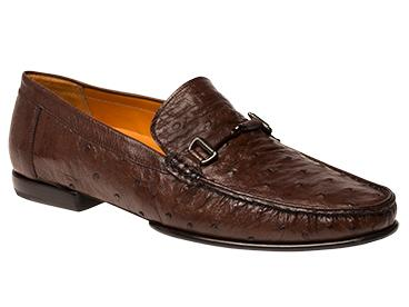 Mezlan Shoes Tabac Bumpy Ostrich Italian Style Moccasin Vittorio