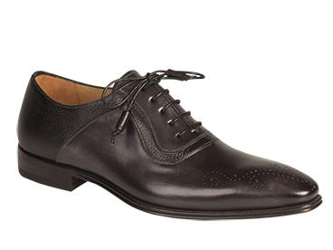 Mezlan Graphite Black Medallion Toe Oxford Shoes Tito