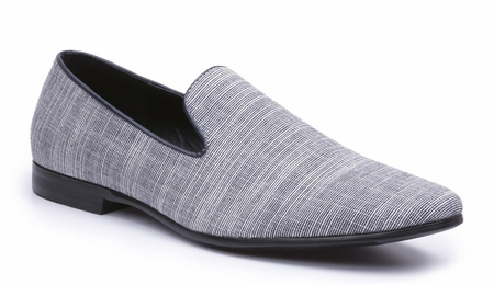 Giorgio Brutini Mens Smoking Loafers Heather Blue Linen 179063  - click to enlarge