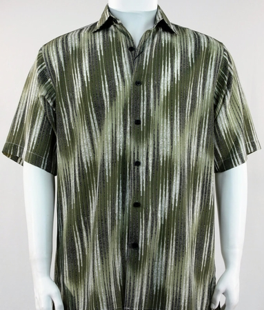 Bassiri Casual Shirt Mens Stylish Olive Green Short Sleeve Print 61361 - click to enlarge