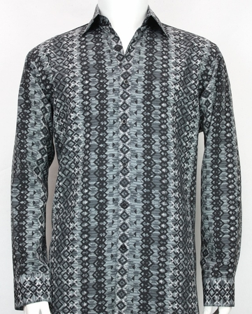 Bassiri Mens Black Gray L/S Designer Fancy Button Down Shirt 6103 - click to enlarge