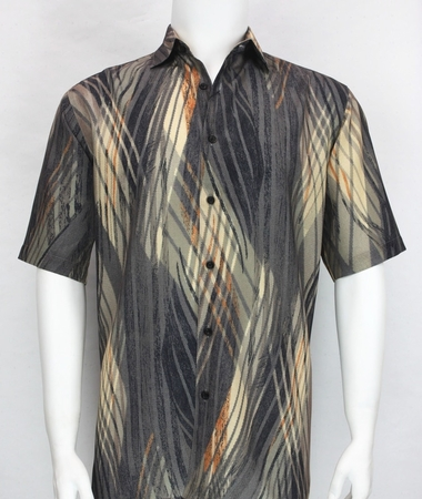 Bassiri Mens Black Tan Rust Pattern Short Sleeve Shirt 3887 - click to enlarge