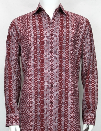 Bassiri Mens Burgundy L/S Designer Fancy Button Down Shirt 6101 - click to enlarge