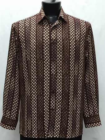 Bassiri Mens Long Sleeve Brown Pattern Casual Fashion Shirt 6038 - click to enlarge