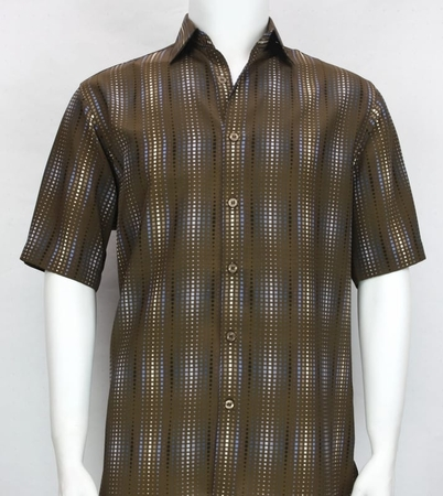 Bassiri Mens Short Sleeve Brown Dot Stripe Shirt 60981 - click to enlarge