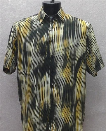 Bassiri Mens Short Sleeve Canary Black Shirt 49231 - click to enlarge