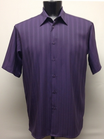 Bassiri Mens Short Sleeve Plum Microfiber Shirt 48271 - click to enlarge
