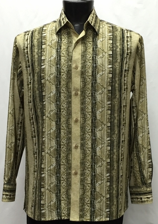 Bassiri Mens Long Sleeve Taupe Pattern Casual Fashion Shirt 6042 - click to enlarge