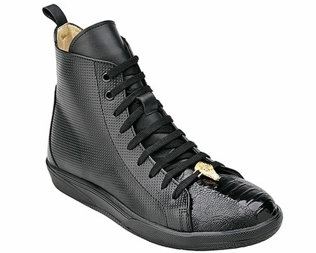 Belvedere Exotic Sneaker Mens Black Ostrich Toe High Top Elio - click to enlarge