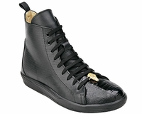 Belvedere Exotic Sneaker Mens Black Ostrich Toe High Top Elio