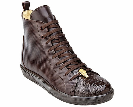 Belvedere Exotic Sneaker Mens Brown Ostrich Toe High Top Elio - click to enlarge