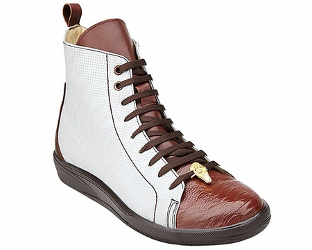 Belvedere Exotic Sneaker Mens Cognac White Ostrich Toe High Top Elio - click to enlarge