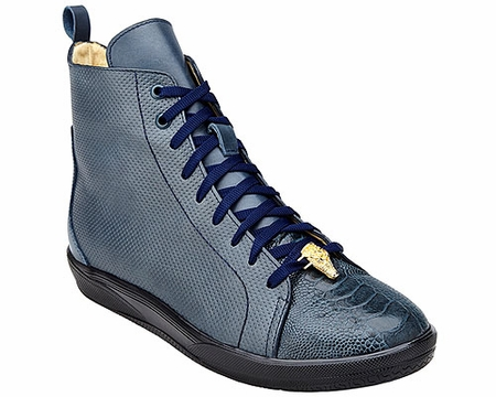 Belvedere Exotic Sneaker Mens Navy Blue Ostrich Toe High Top Elio - click to enlarge