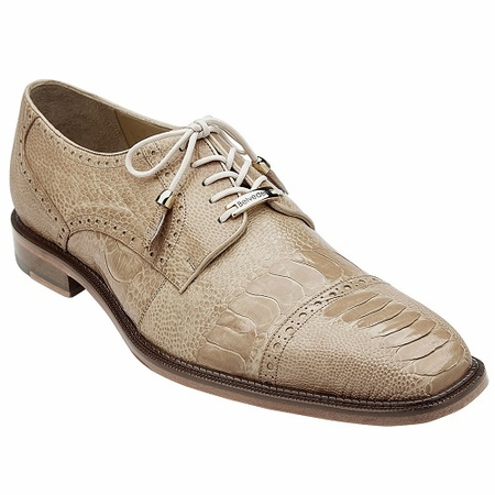 Belvedere Mens Taupe Ostrich Leg Skin Shoes Batta 14006 - click to enlarge