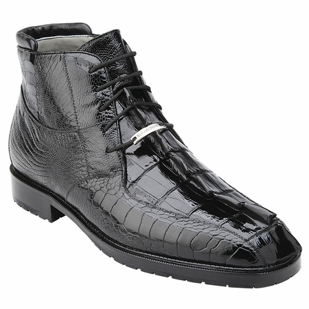 Belvedere Mens Black Hornback Crocodile Ostrich Boots Barone - click to enlarge