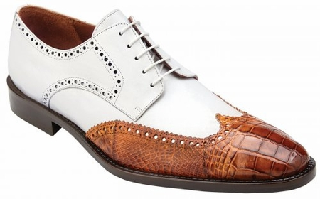 Belvedere Crocodile Shoes Mens Almond White Wingtip Urbano - click to enlarge