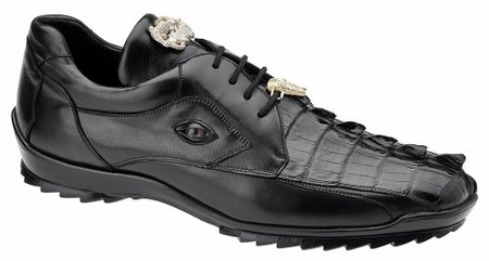 Belvedere Mens Black Genuine Hornback Crocodile Sneaker Vasco 336122 - click to enlarge