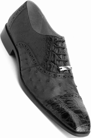 Belvedere Mens Black Genuine Crocodiile Ostrich Shoes Onesto  - click to enlarge