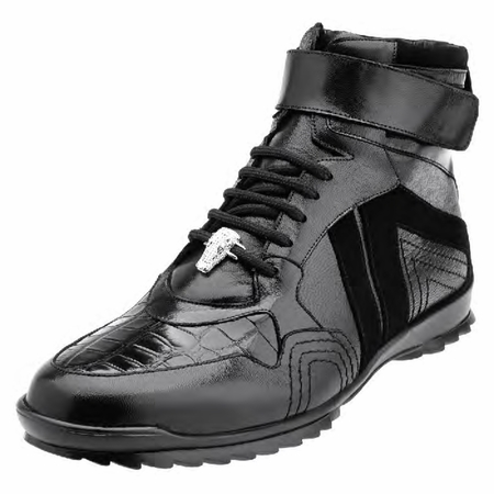 Belvedere Mens Black Ostrich Skin Casual Sneakers Rino 96002 - click to enlarge