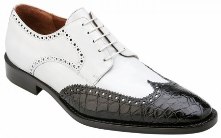 Belvedere Crocodile Shoes Mens Black White Wingtip Urbano - click to enlarge