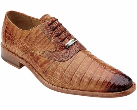 Belvedere Mens Honey Crocodile Shoes Edo Size 8.5 Final Sale - click to enlarge