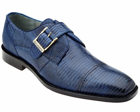 Belvedere Mens Navy Genuine Lizard Skin Shoes Otto 1498 - click to enlarge