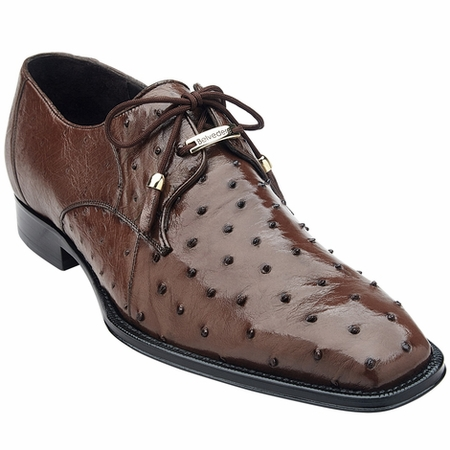 Belvedere Mens Real Brown Ostrich Shoes Isola 14001 - click to enlarge