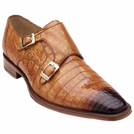 Belvedere Men's Antique Alligator Double Buckle Shoes Turi 1631 - click to enlarge