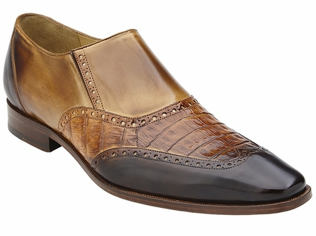 Belvedere Shoes Mens Brown Crocodile Calf Wingtip Loafers Lucas - click to enlarge