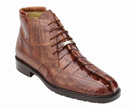 Belvedere Mens Brandy Hornback Crocodile Ostrich Boots Barone - click to enlarge