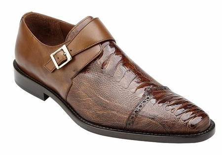 Belvedere Ostrich Shoes Mens Almond Brown Side Buckle Strap Salinas  - click to enlarge