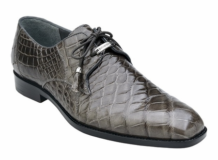 Belvedere Gray Alligator Shoes Plain Toe Lago - click to enlarge