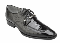 Belvedere Alligator Shoes Mens Black Split Toe Oxford Lorenzo B01