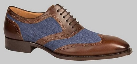 Mezlan Shoes Brown Blue Calfskin Spectator Wingtip Pasteur Size 11 Final Sale  - click to enlarge