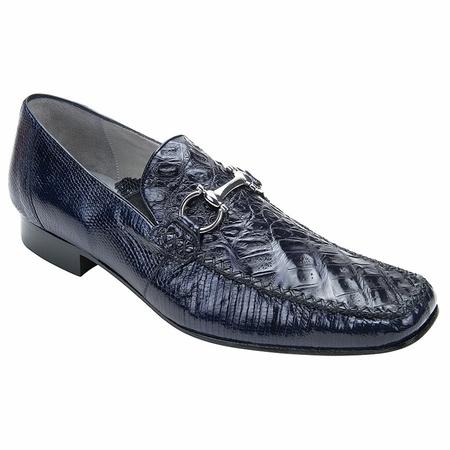 Belvedere Mens Navy Crocodile Top Stitched Loafers Italo 1010 - click to enlarge