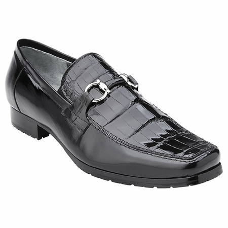 Belvedere Shoes Mens Black Alligator Top Gucci Style Loafer Plato - click to enlarge