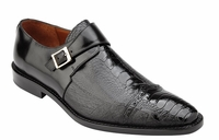 Belvedere Ostrich Shoes Mens Black Side Buckle Strap Salinas