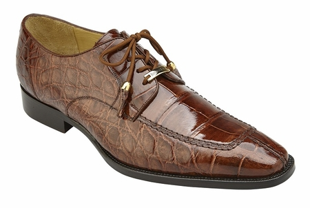 Belvedere Alligator Shoes Mens Peanut Tan Split Toe Oxford Lorenzo B01 - click to enlarge