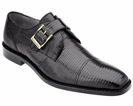 Belvedere Mens Black Genuine Lizard Skin Shoes Otto 1498 - click to enlarge